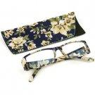 Fun Floral Frame Clear Lens Reading Eye Glasses Eyeglasses Pouch Blue + 3.00