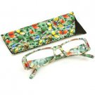 Fun Floral Frame Clear Lens Reading Eye Glasses Eyeglasses Pouch Green + 1.75