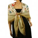 Vibrant Colors Butterfly Light Sheer Spring Big Square Summer Scarf Shawl Beige