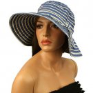 UPF 50+ Protection Summer Stripe Adjustable Floppy Bucket Sun Hat Cap 57cm Blue