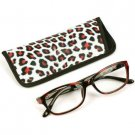 Animal Print Clear Lens Reading Glasses Eyeglasses Pouch Case Black Red + 2.25