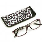 Animal Print Clear Lens Reading Glasses Eyeglasses Pouch Case Black Purple+ 2.50