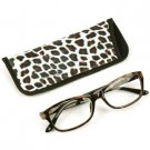 Animal Print Clear Lens Reading Glasses Eyeglasses Pouch Case Black Brown + 2.00