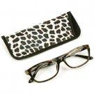 Animal Print Clear Lens Reading Glasses Eyeglasses Pouch Case Black Brown + 1.25