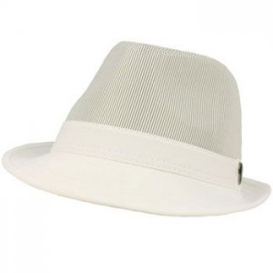 Men's Summer Spring Cool Solid & Mini Pinstripe Fedora Trilby Hat White 58cm LXL