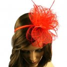 Feathers Mini Hat Cap Fascinator Removable Headband Head Piece Cocktail Red