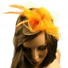 Feathers Fishnet Hat Fascinator Removable Headband Head Piece Cocktail Orange