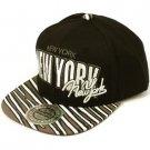 100% Cotton New York Zubaz Snapback Adjustable Baseball Ball Cap Hat Black Gray
