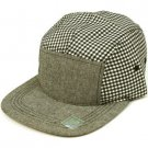 100% Cotton 5 Panel Checker Plaid Snapback Adjustable Back Cadet Cap Hat Black