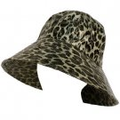 Rain Waterproof Animal Print Travel Cloche Bucket Wide Sun Hat Cap 57cm Black