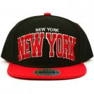 Men's New York 2 Tone Cool Snapback Adjustable Baseball Ball Cap Hat Black Red