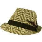 Men's Feathers Cool Weave Summer Spring Fedora Trilby Hat Natural Brown 58cm LXL