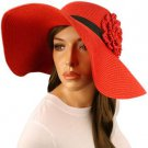 "UPF 50+ Beach Summer Ruffle Flower Hatband Wide 5"" Brim Floppy Sun Hat Cap Red"