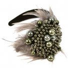 Wide Fancy Formal Real Feathers Metallic Beads Handmade Headwrap Headband Gray
