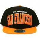 Men's San Francisco 2 Tone Snapback Adjustable Baseball Ball Cap Hat Black Org
