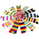 Ladies Warm Toe Socks 12 Pairs Colorful Striped Crew Ladies Mid Calf Pack Set