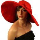 "UPF 50+ Summer Beach Packable Floppy Extra Wide 7"" Brim Sun Hat Cap 57cm Red"