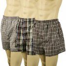 Men's 3pk Plaid Boxer Brief Underwear Comfort Waistband Assorted #7  XL 42-44