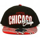 100% Cotton Chicago Zubaz Snapback Adjustable Baseball Ball Cap Hat Black Red