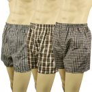 Men's 3pk Plaid Browns Boxer Brief Underwear Comfort Waistband Assorted L 38-40