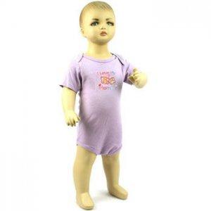 Baby Newborn Girls Love Mommy Purple 3pc Short Sleeve Set Layette Bodysuit 0-3