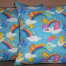 2 CARE BEARS FABRIC THROW PILLOW COVER WITH MATCHING BACKS