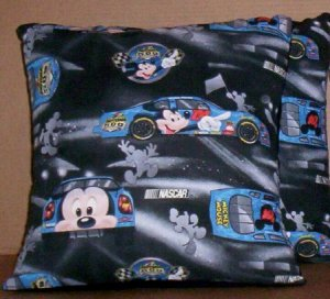 ~ SALE ~ 2 MICKEY MOUSE NASCAR FABRIC THROW PILLOW COVERS