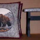~ SALE ~ 2 BEARS FABRIC THROW PILLOW COVERS or WALL HANGING