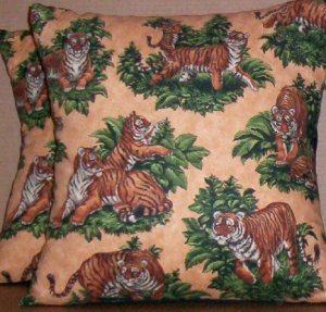 ~ SALE ~ 2 BENGAL TIGER FABRIC THROW PILLOW COVERS TIGERS ALL OVER