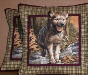 ~ SALE ~ 2 WOLF CUB FABRIC THROW PILLOW COVERS or WALL HANGING