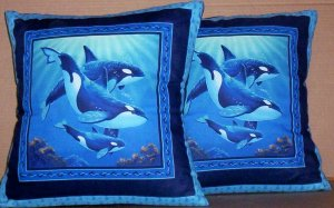 ~ SALE ~ 2 WHALE  FABRIC THROW PILLOW COVERS or WALL HANGING DOLPHIN