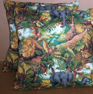 ~SALE ~ 2 SAFARI FABRIC THROW PILLOW COVERS or WALL HANGING