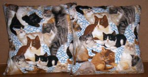 ~ SALE ~ 2 CAT  FABRIC THROW PILLOW COVERS or WALL HANGING KITTY  CATS KITTEN KITTENS
