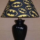 BATMAN  LAMP AND  SHADE FABRIC lampshade & BLACK LAMP LOGO