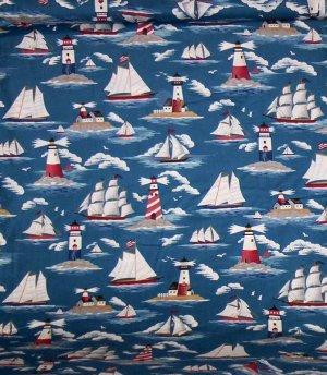Nautical Lighthouse Ship Fabric 2 1/2 yards