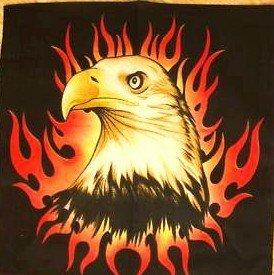 EAGLE WITH FIRE FLAME BANDANA SCARF HANDKERCHIEF