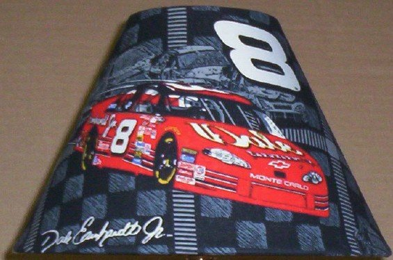 DALE EARNHARDT JR  LAMP AND SHADE  FABRIC LAMP SHADE lampshade & RED LAMP