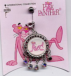 PINK PANTHER Navel-Belly Jewel! w Dangling Gems!