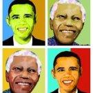 Barack Obama Papa Nelson Mandala Giclee on Canvas
