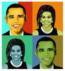 Mr & Mrs Obama Giclee on Canvas