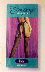 Babe Sheer Black Garterbelt Pantyhose