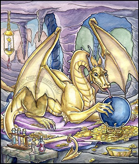 Golden Dragon Watercolor Print