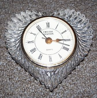 Crystal Legends Heart Shaped Mantel Clock