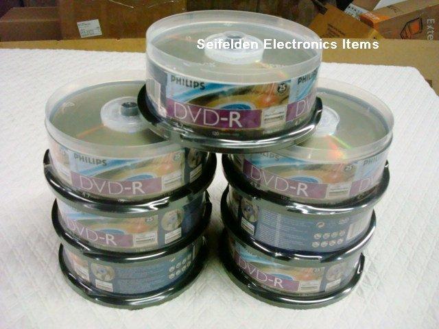 175 Lightscribe 16X Philips DVD-R Blank disc 25 X 7 NEW