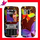 Straight Talk  & NET 10 PREMIUM Rubberized Coating Hard Case SAMSUNG R451C 451 ~ BUTTERFLY GARDEN