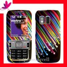 STRAIGHT TALK  &  NET 10 Premium RUBBERIZED COATING Case Cover Samsung R451C ~ RAINBOW STAR
