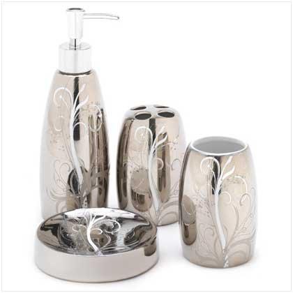 Silver Filigree Bath Set