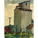 "Grain Elevator, Rolfe, Iowa (17.25"" H x 13.25"" W, Standard; Giclee Print of Watercolor Painting)"