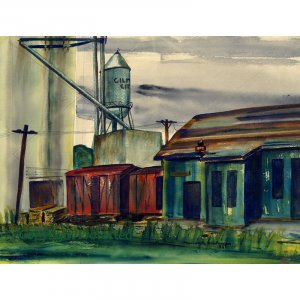 "Railway Station and Grain Elevator (13.25"" H x 17.25"" W; Giclee Print of Watercolor Painting)"