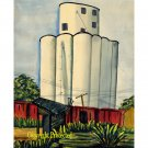 "Grain Elevator II (12.25""H x 10""W, Medium; Giclee Print of Watercolor Painting)"